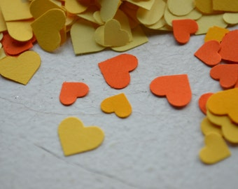 Adorable Heart Confetti in Orange/Yellow over 1000 hearts