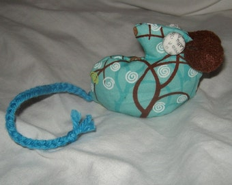 minature mouse art doll ooak beanbag aqua, white, chocolate, lime abstract trees print weight hand sewn