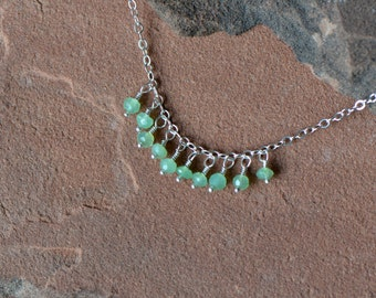 Chrysoprase Necklace, Delicate Faceted Gemstones, Mint Green, Sterling Silver