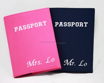 Mr. and Mrs. Passport Holder, Personalized Passport Cover Set, Custom made Passport Cover, More than 300 fabric available.