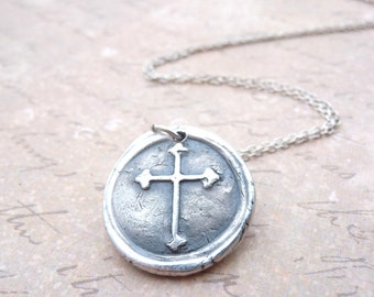 Cross necklace hand stamped with wax seal in fine silver from Dream of a Dream on Etsy for Valentine's day
