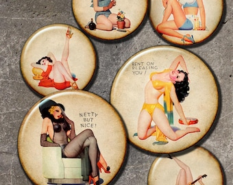 Pin up Girls Bottle cap pendant vintage  images Digital Collage Sheet   circles 1in and  2 in Download for Resin Pendant, Round Circle (J14)