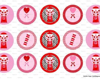 """15 Bubblegum Love Digital Download for 1"""" Bottle Caps (4x6)"""