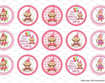 """15 Monkey likes to Party Digital Download for 1"""" Bottle Caps (4x6)"""