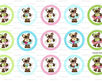 """15 Cupcake Bears 1 Images Digital Download for 1"""" Bottle Caps (4x6)"""