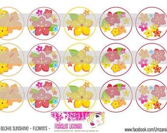 "15 M2MG Aloha Sunshine & Flowers Digital Download for 1"" Bottle Caps (4x6)"