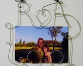 Custom Personalized Initials, Couple Photo Holder, Swirly Wire Word, 4x6, Wire Art Wall Hanging Picture Frame