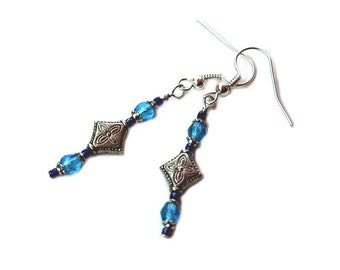 Blue Crystal Earrings, with Cobalt Seed Beads and Silver Metal Center Bead
