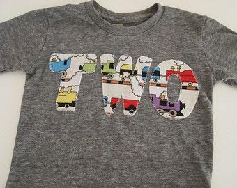 Train Birthday Shirt Organic Blend Tee Boys Birthday Train T-shirt choo choo second birthday etc