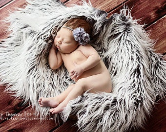 Frosted Gray Mongolian Faux Fur Nest Photography Prop Rug Newborn Baby Toddler