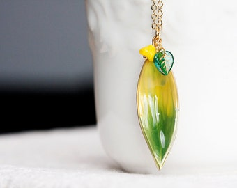 Enamel Leaf Necklace Yellow Flower Green Leaf Long Chain Necklace Summer Nature Leaf Jewelry - N275