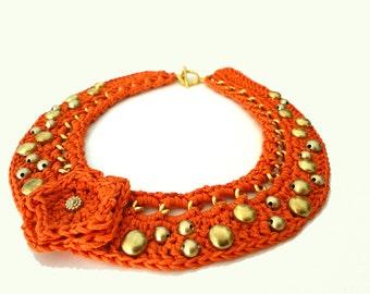 SALE - Orange Chain Crocheted Studded Bib Necklace