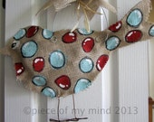 Burlap Bird door Hanger Aqua and Red