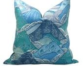Kelly Wearstler Edo Linen pillow cover in Teal