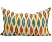 Schumacher Sunara Ikat lumbar pillow cover in Spice