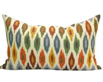 Sunara Ikat lumbar pillow cover in Spice