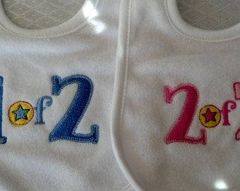 2 Embroidered Twins Bibs - 1 of 2 and 2 of 2 - get 2 boys, 2 girls, 1 boy and 1 girl or neutral colors for unknow gender