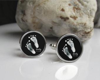 Footprint Cufflinks, Custom Cufflinks, Personalized Keepsake For Dad, Baby Footprint Or Handprint Cufflinks