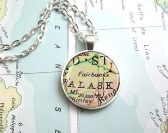 Map Pendant, Customized Map Necklace, Map Jewelry, Any Location