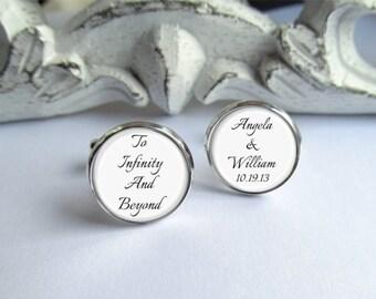 Wedding Cufflinks, To Infinity And Beyond, Personalized Groom Cufflinks