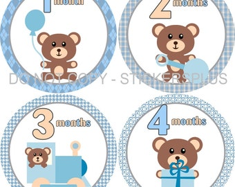 Baby Boy Monthly Milestone Stickers Baby PRECUT Month Stickers Plus FREE Gift Teddy Bear Blue Brown Grey Present Train Rattle - 1-12 m