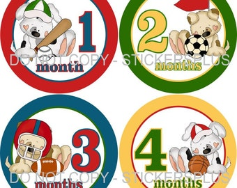 Baby Month Stickers Monthly Baby Milestone Stickers PRECUT Bodysuit Stickers Monthly Stickers Plus FREE Gift Boy Sports Dog Shower Gift
