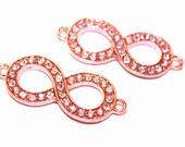 SALE  Rose Gold Rhinestones Infinity Charm Bracelet Connector Sideways Eight charm