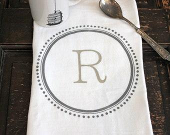 3  Monogramed Tea Towels , Flour Sack Towel, Kitchen Towel, Monogrammed Towel, Personalized Kitchen Towel,Modern Vinatge Market a