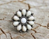 Vintage Round Face Silver and Milk Glass Ring
