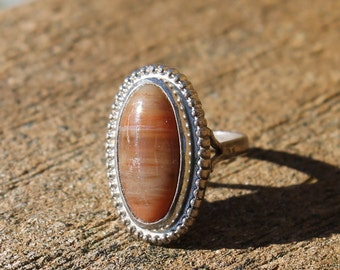 Vintage Silver Brown Agate Stone Ring