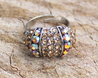Vintage Silver Topaz Rhinestone Ring