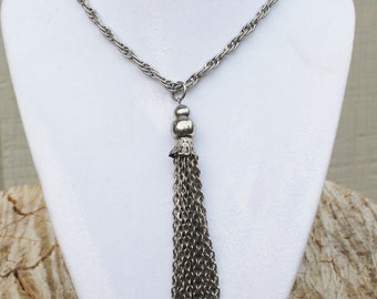 Vintage Long SIlver Rope Necklace with Long Tassel