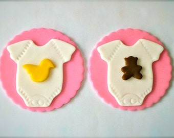 Baby Bodysuit Fondant Cupcake Toppers with Bears and Ducks - Colors can be changed for girls and boys