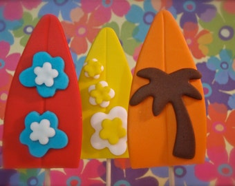 Surfer Boy Surfboard Fondant Cupcake Topper Decorations- Perfect for Luaus and Beach Parties