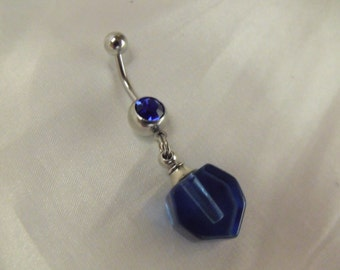 Belly Ring,  Blue Perfume Bottle Pendant  Womens Gift Handmade