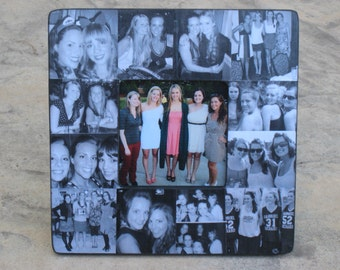 "Best Friends Photo Collage Frame, Personalized Maid of Honor Picture Frame, Sister Gift, Custom Collage Bridesmaid Frame, 8"" x 8"""