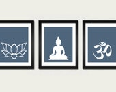 Namaste Set, Om, Lotus and Buddha Art Prints, Modern Zen Decor, Yoga Studio Decoration, Minimal Art, Buddhist Art, Meditation Room Prints
