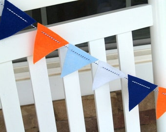 SALE Blue and OrangeFelt Bunting