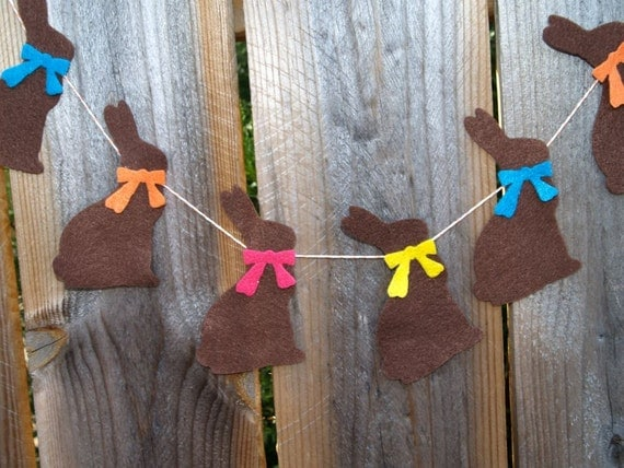 SALE Chocolate Easter Bunny Garland Bunting