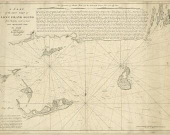 1777 Nautical Chart of Long Island Sound