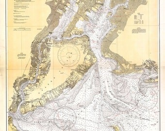 1932 Nautical Chart of New York Harbor