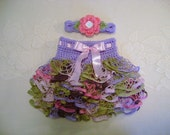 READY TO SHIP - 0 to 3 Month Size - Lavender, Pink and Green Ballerina Ruffled Skirt and Headband - Photo Prop