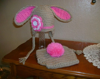 Tan Easter Bunny with Flower Crocheted Hat and Diaper Cover - Photo Prop - Available in Any Size or Color Combination
