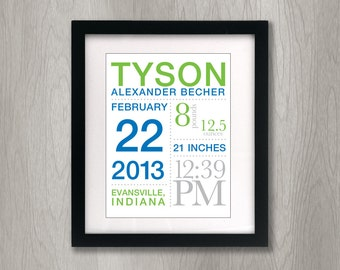 Birth Announcement Poster Custom with Your Child's Stats: 11x14 inches