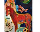 """Expressionist Painting on Canvas, 30"""" x 15"""" Original Art, Horse and Figure, Expressionism"""