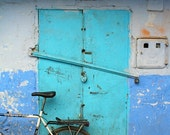 MOROCCAN PHOTOGRAPHY - blue Chef Chaouen - bicycle - blue door and blue walls - Morocco - North Africa - 5 x 7