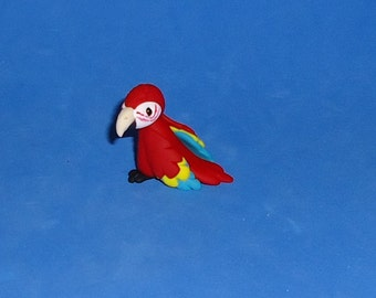Polymer Clay Red Macaw Parrot