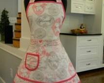 LAST ONE-Womens Apron-Bridal/Wedding Double Skirt Apron