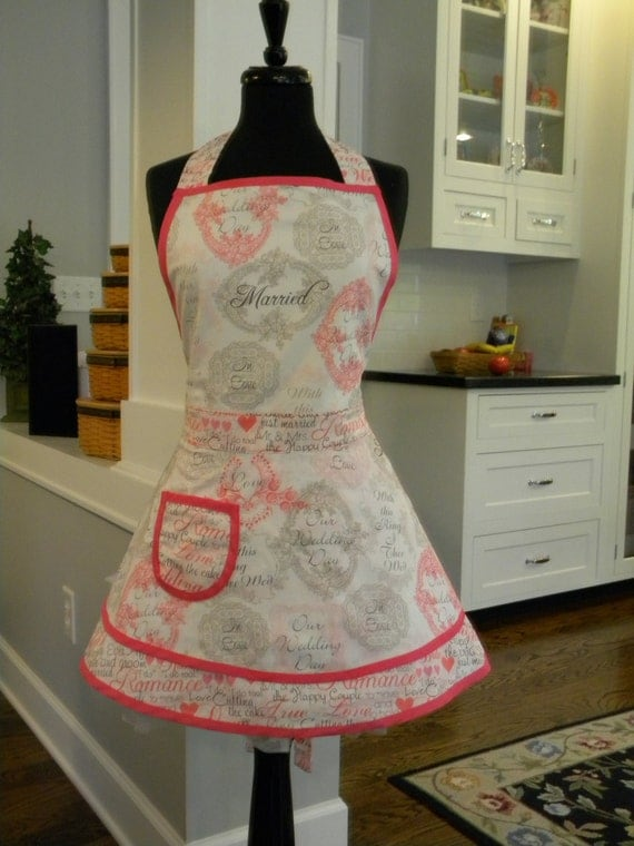LAST ONE-Womens Apron-Bridal/Wedding Double Skirt Apron