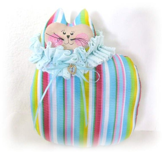 CAT Pillow Cat Doll Cloth Doll 7 inch STRIPES with Heart Charm Prim Primitive Cloth Handmade CharlotteStyle